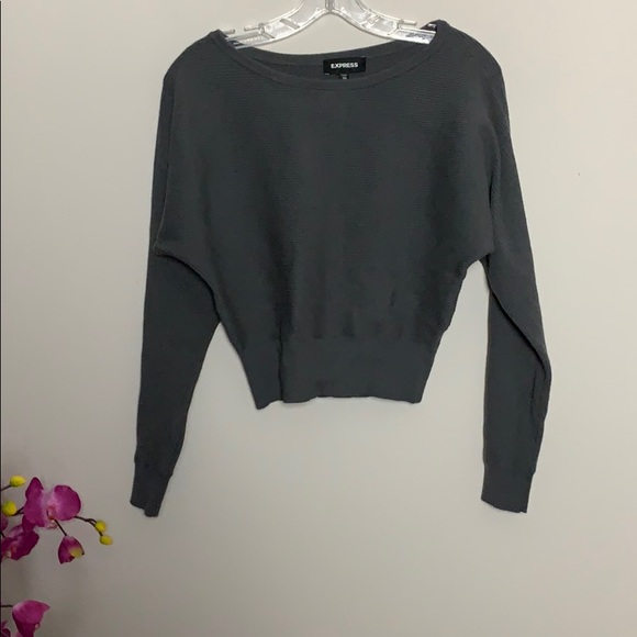 Express grey batwing cropped long sleeve  sweater